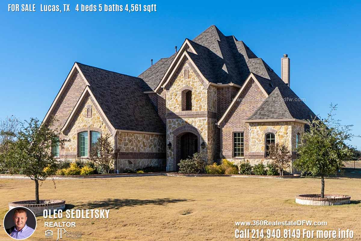 House For Sale in Lucas TX, Contact Oleg Sedletsky REALTOR - 214.940.8149 - www.360RealEstateDFW.com - JP & Associates Realtors Current price $745,000 Please Note! Information provided is deemed reliable, but is not guaranteed and should be independently verified.