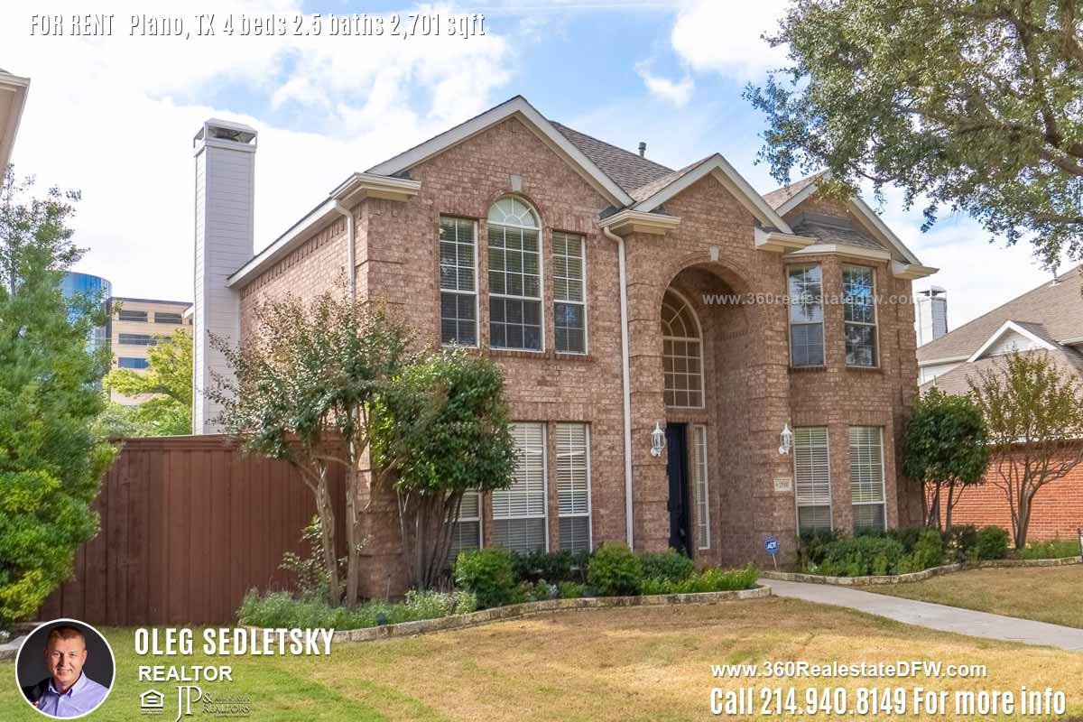 House For Rent in Plano TX, Contact Oleg Sedletsky REALTOR - 214.940.8149 - www.360RealEstateDFW.com - JP & Associates Realtors Please Note! Information provided is deemed reliable, but is not guaranteed and should be independently verified. Availability is subject to change.
