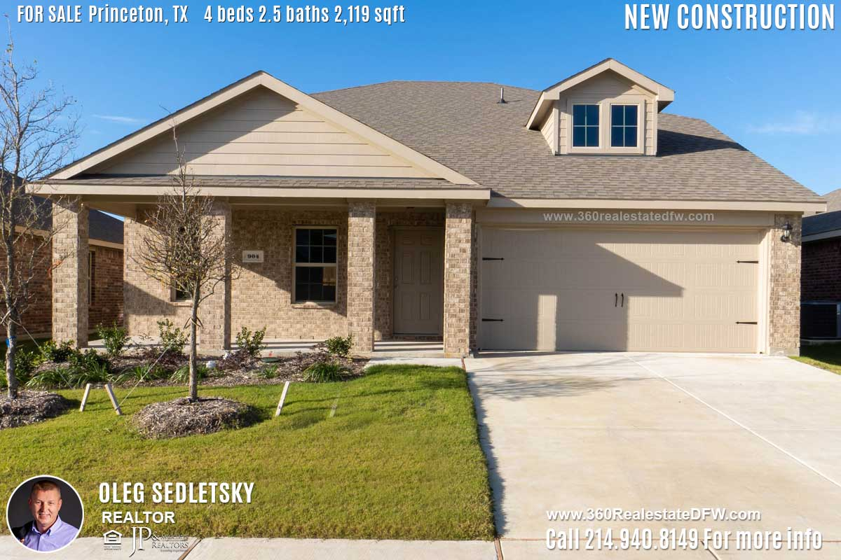 New Construction Home in Princeton, TX Contact Oleg Sedletsky REALTOR - 214.940.8149 - www.360RealEstateDFW.com - JP & Associates Realtors Current price $237,990 Please Note! Information provided is deemed reliable, but is not guaranteed and should be independently verified.