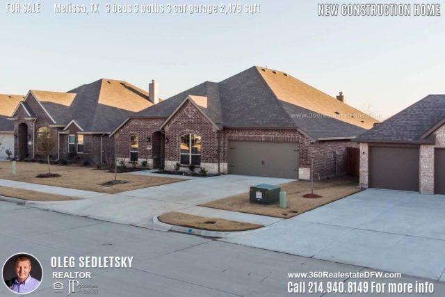 New Construction Home in Melissa, TX. Contact Oleg Sedletsky REALTOR - 214.940.8149 - www.360RealEstateDFW.com - JP & Associates Realtors 3 Beds, 3 Baths, 3 Car Garage, 2479 sqft Note! Information provided is deemed reliable, but is not guaranteed and should be independently verified. Price and Home Availability is subject to change without notice. Square footages are approximate.