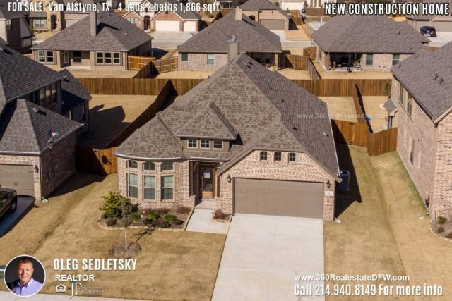 New Construction Home in Van Alstyne, TX Contact Oleg Sedletsky REALTOR - 214.940.8149 - www.360RealEstateDFW.com - JP & Associates Realtors 4 Beds, 2 Baths, 2 Car Garage, 1866 sqft Note! Information provided is deemed reliable, but is not guaranteed and should be independently verified. Price and Home Availability is subject to change without notice. Square footages are approximate.
