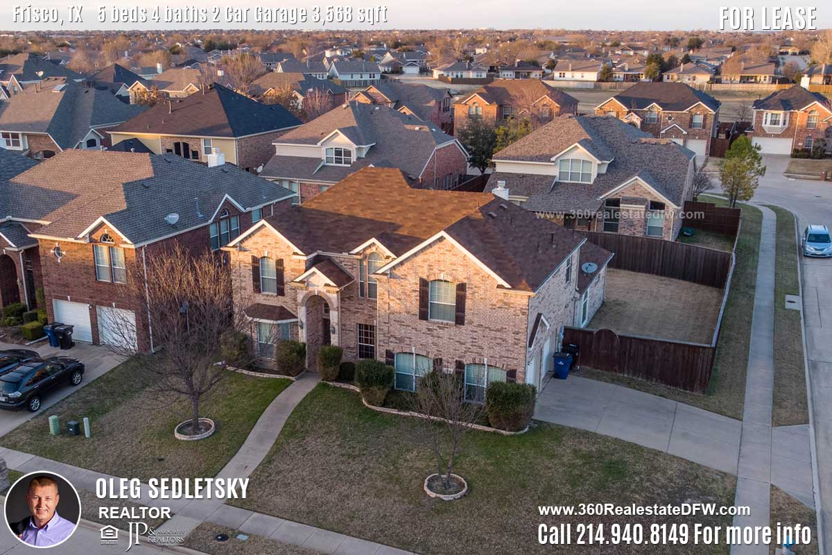 5 Bedroom Home For Lease in Frisco TX- Call 214.940.8149 Oleg Sedletsky Realtor