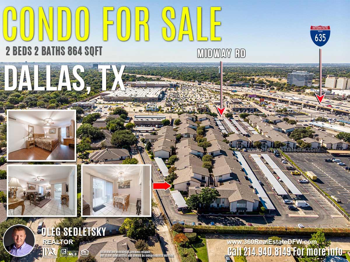Condo For Sale in Dallas TX. 2 beds 2 baths 864 sqft. Dallas ISD - Call 214.940.8149 Oleg Sedletsky Realtor in Dallas, TX