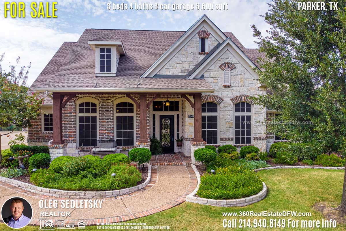 Beautiful House For Sale in Parker TX. 3 beds 4 baths 3-car garage 3,600 sqft. Allen ISD - Call 214.940.8149 Oleg Sedletsky Realtor in Parker, TX
