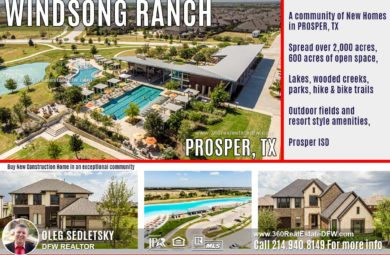 Windsong Ranch is a master-planned community in Prosper,TX with amazing state-of-the-art amenities. Windsong Ranch features new homes and home-sites for sale in North Dallas. Call 214.940.8149 for help with buying New Construction Homes in Windsong Ranch community in Prosper,TX Oleg Sedletsky DFW Realtor specializing in New Construction Homes in Dallas-Fort Worth Area 214.940.8149