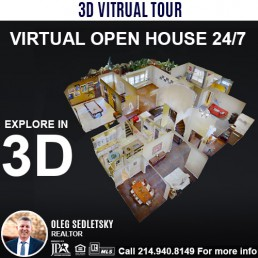 Professional 3D Virtual Tour included when you hire Oleg Sedletsky Realtor to sell your house in DFW