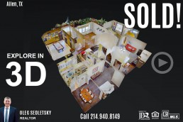 SOLD! 4Bd, 3.1 Ba, 4188 Sqft, in Allen, TX with Allen ISD. Well maintained 2 story home in highly sought after Twin Creeks! Call Oleg Sedletsky Realtor at 214-940-8149
