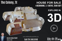 3D Tour - House For Sale 4Bd, 3.1 Ba, 3500 Sqft, in The Colony, TX. Well maintained 2 story home in highly sought after Legend Crest Community! Call Oleg Sedletsky Realtor at 214-940-8149