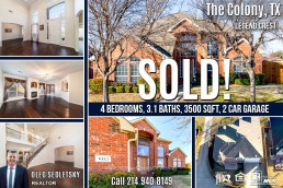 House SOLD in The Colony, TX 4Bd, 3.1 Ba, 3500 Sqft, Call Oleg Sedletsky Realtor at 214-940-8149 if you need to sell your house fast
